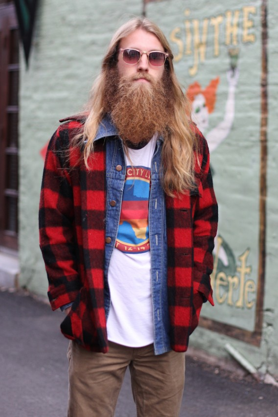 Men's Street Style: Flannel + Denim